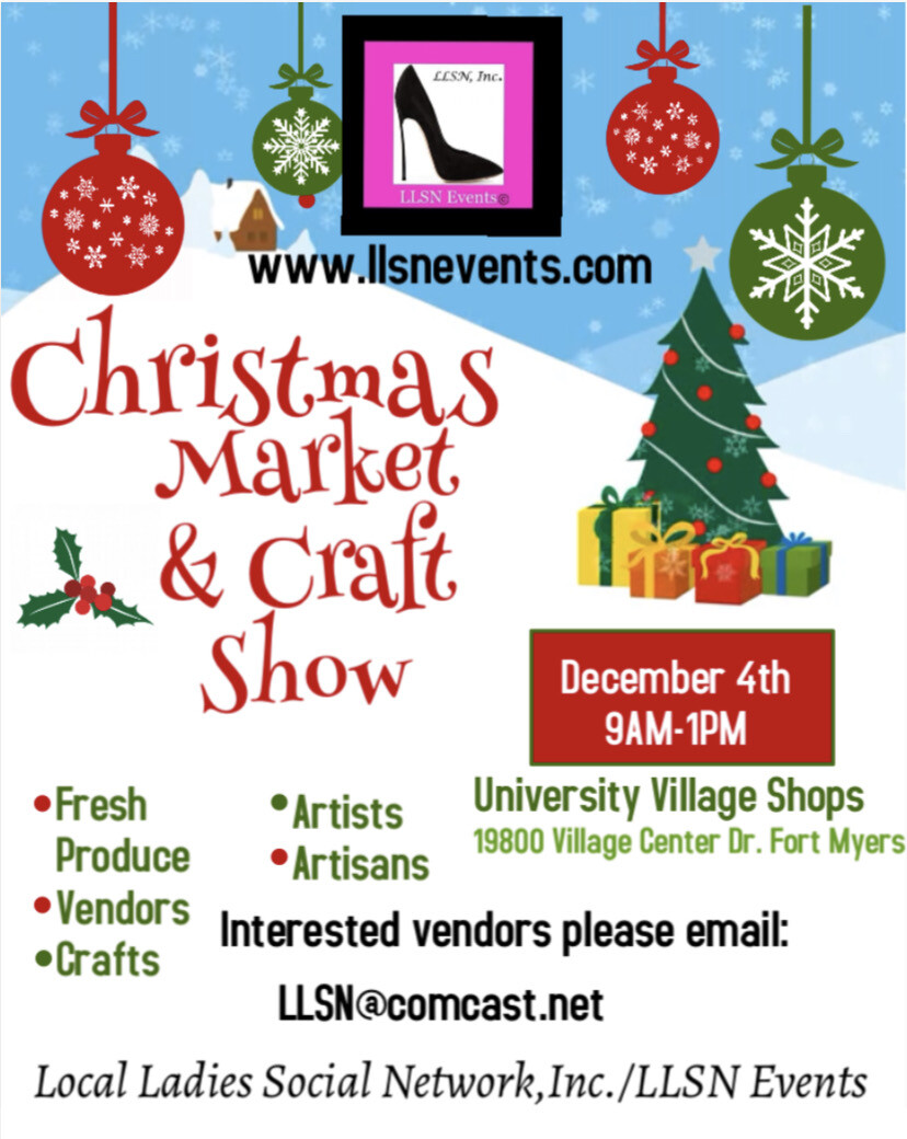 Christmas Market & Craft Show, Fort Myers- December 4th- University Village Shops