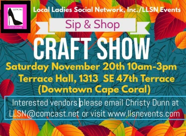 Sip & Shop Craft Show- Downtown Cape Coral  (INDOORS) NOVEMBER 20TH