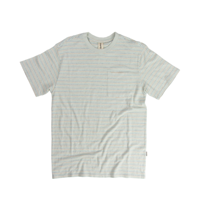 Fayettechill Men's Nelson Pocket Tee- Spa Blue Stripe