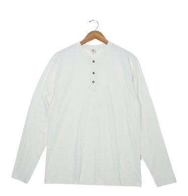 Fayettechill Men's Long Sleeve Calvin Henley Tee- Winter White