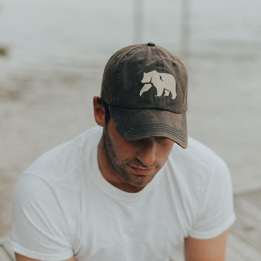 The Normal Brand Logo Waxed Canvas Cap- Brown
