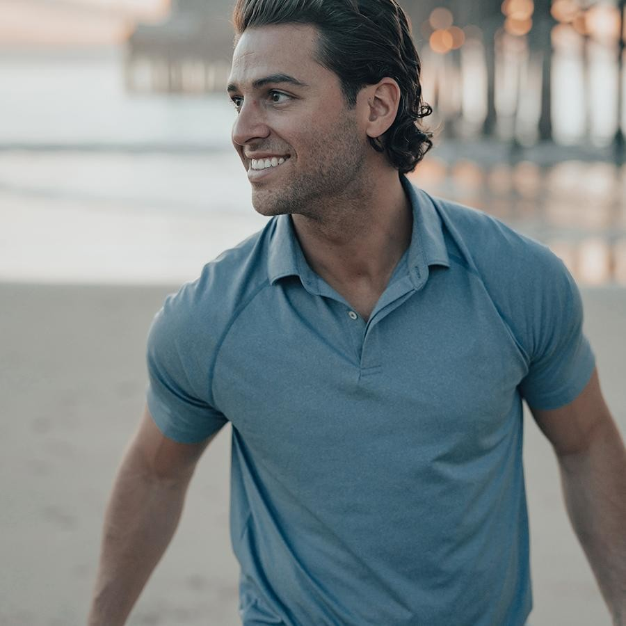 The Normal Brand Men's Performance Polo- Mineral Blue