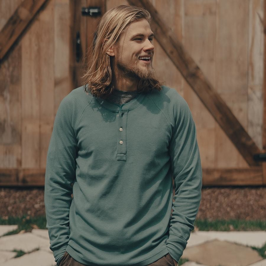 The Normal Brand Men's Puremeso Raglan Henley- Teal