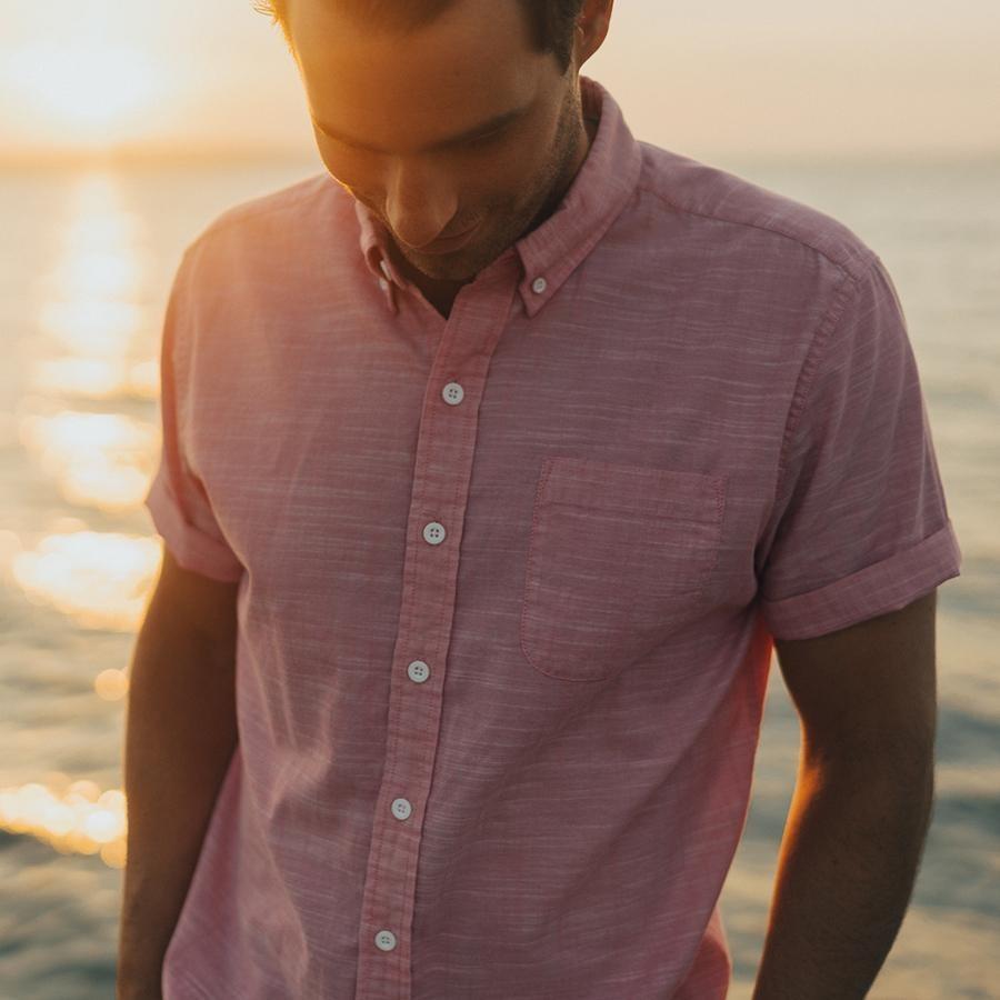 The Normal Brand Men's Slub Cotton Button Up- Pink