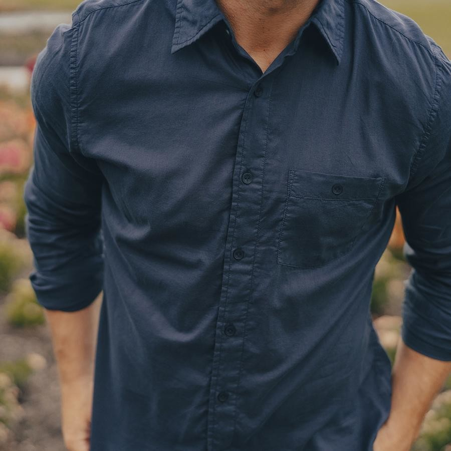 The Normal Brand Men's Glen Lightweight Button Up- Navy