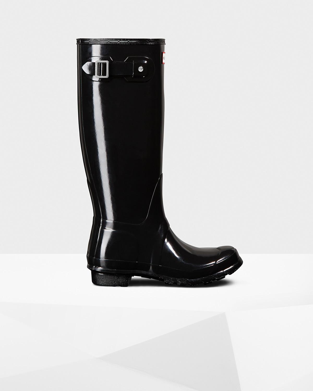 Hunter Women's Original Tall Gloss Boot- Black