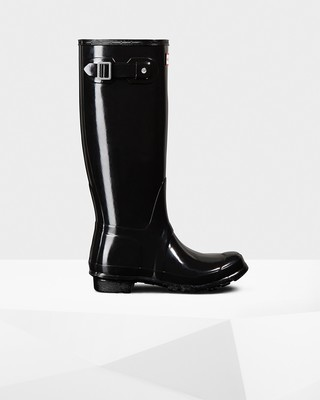 Hunter Women's Original Tall Gloss Boot- Black