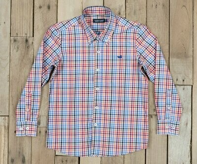 Southern Marsh Kid's Dress Shirt - Red and Navy