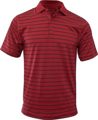 RJX Activ Men's Short Sleeve Wide Stripe Polo - Red