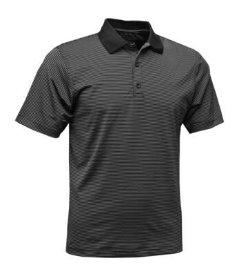 RJX Activ Men's Short Sleeve Mini Stripe Polo - Black