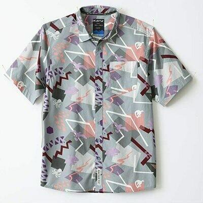 Kavu Men's Short Sleeve Button Up- Banana Rama