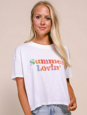 Friday + Saturday Summer Lovin Cropped Tee