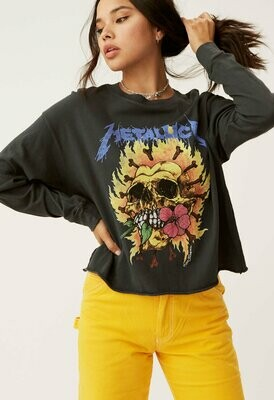 Daydreamer Women's Long Sleeve Metallica Skull Crop Tee