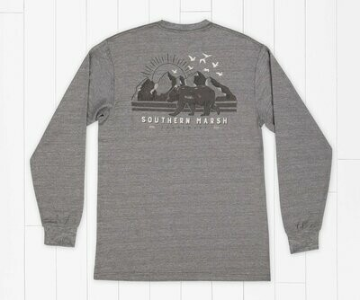 Southern Marsh Men's Long Sleeve FieldTec Heathered Performace Bear Tee