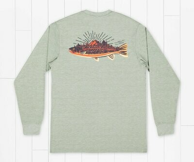Southern Marsh Men's Long Sleeve FieldTec Heathered Performace Speckled Sunset Tee
