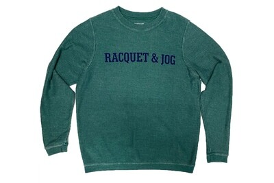 R&J Statement Hunter Green Pullover Corduroy Crewneck Fleece