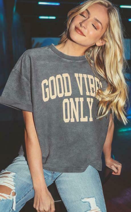 Friday+Saturday Good Vibes Short Sleeve Corded Sweatshirt