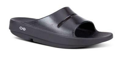 Oofos Women's OOahh Luxe Slide Sandal- Black