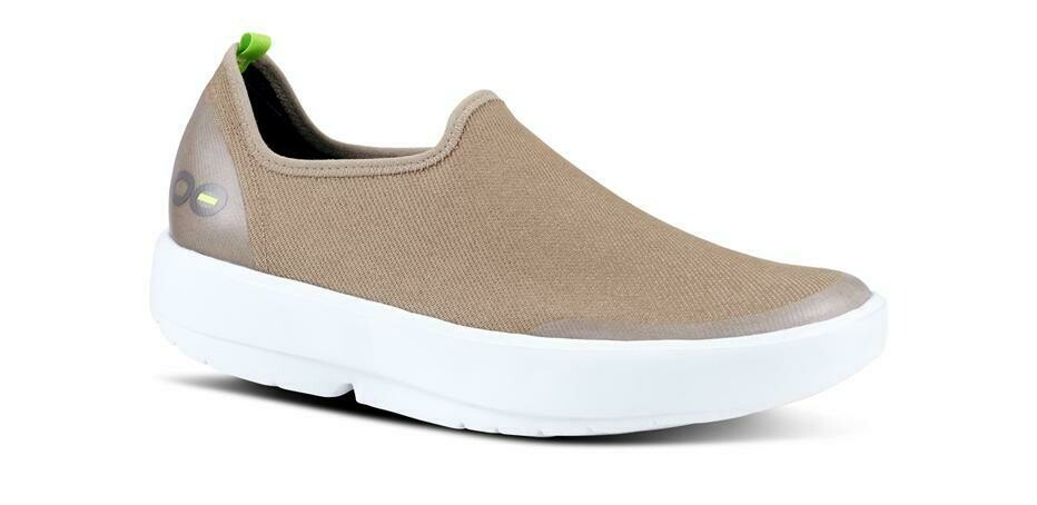 Oofos Women's OOmg Eezee Low- White and Taupe