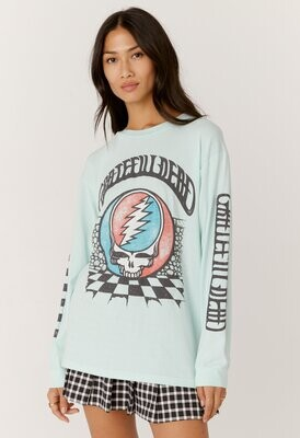Daydreamer Women's Grateful Dead Checkered Oversized Long Sleeve Tee