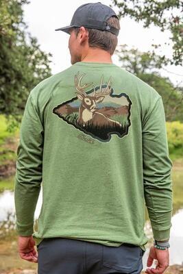 Burlebo Men's Long Sleeve Arrowhead Deer Tee