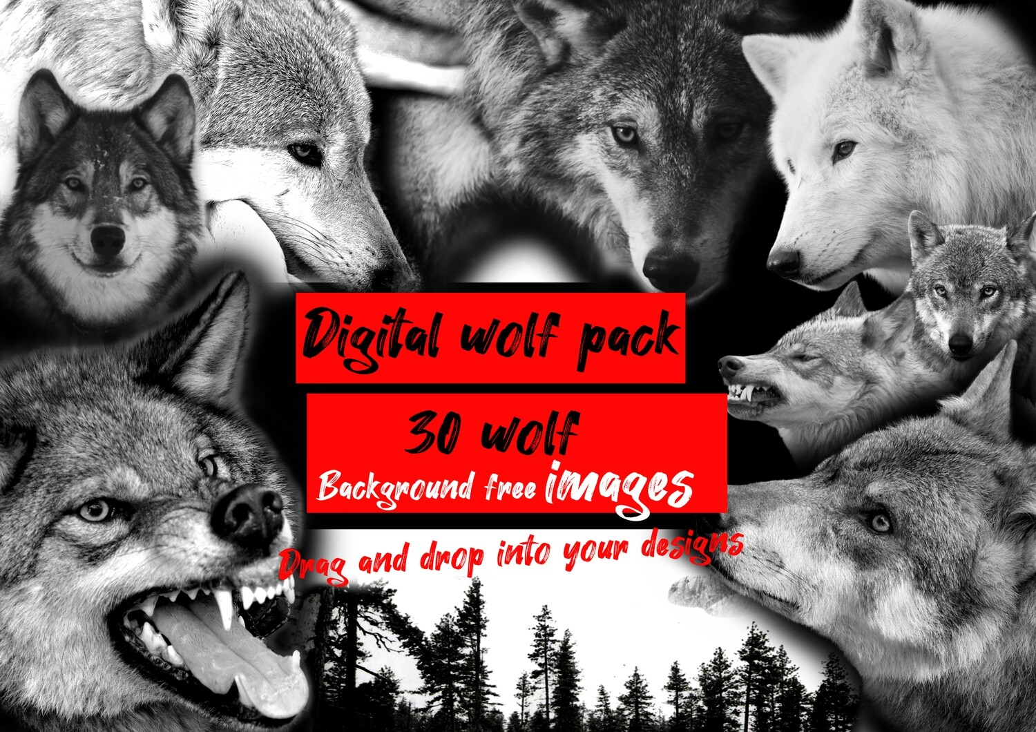 NEW digital wolf pack black and grey