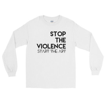 """""""Stop the Violence..."""" Long Sleeve T-Shirt (White)"""