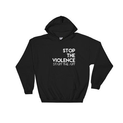 """Stop the Violence..."" Hooded Sweatshirt (Black)"
