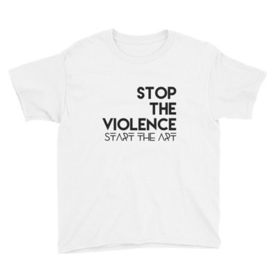 """""""Stop the Violence..."""" Youth Short Sleeve T-Shirt (White)"""
