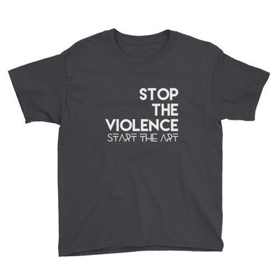 """""""Stop the Violence..."""" Youth Short Sleeve T-Shirt (Black)"""
