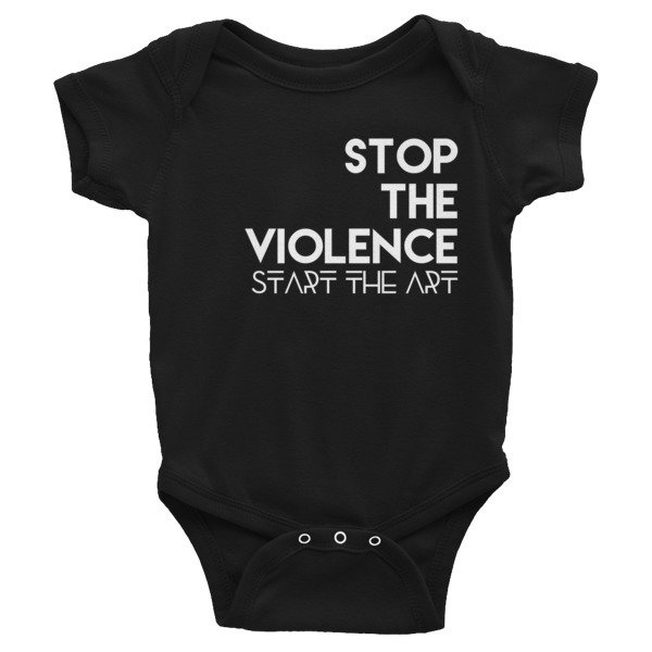 """Stop the Violence..."" Infant Bodysuit (Black)"