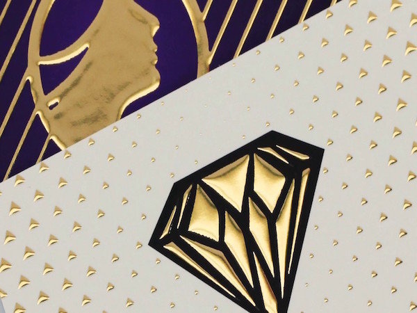 18pt Suede Cards w/ Raised Hot Foil