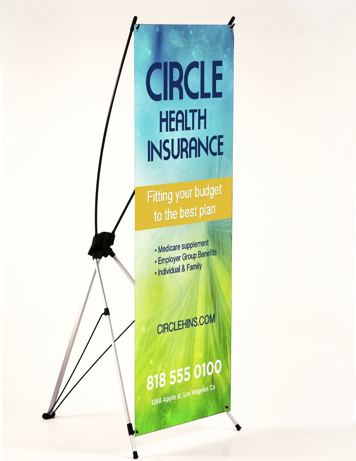 """13oz - 24"""" x 60"""" Matte Banner with Collapsible X-Stand"""