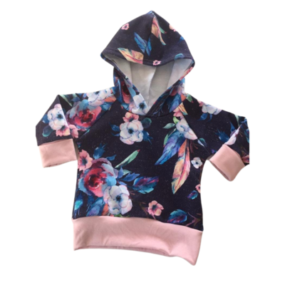 Hoodie 3/12 months - Grow with me, floral