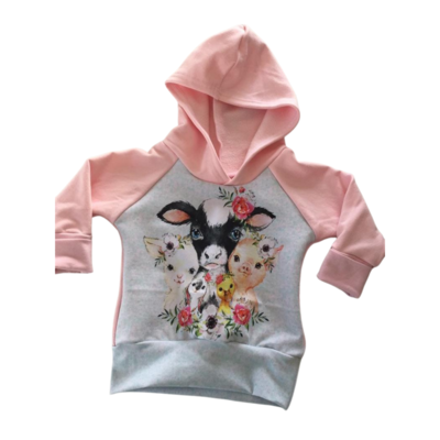 Hoodie 3/12 months - Grow with me, farm animals