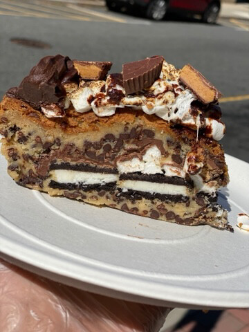 S'moreo Peanut Butter Cup Choc. chip Cookie Cake