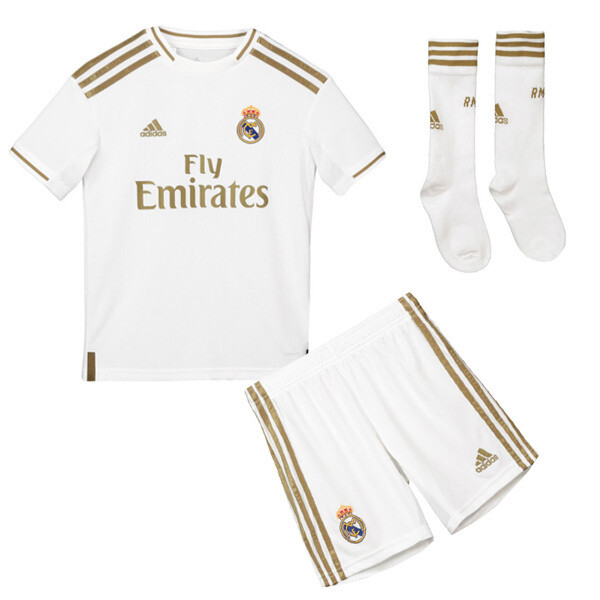Adidas Real Madrid Official Home Soccer Jersey Full Kids Kit 19/20