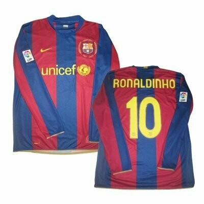Ronaldinho FC Barcelona 2007-2008 Retro Long Sleeve Jersey #10 (Replica)