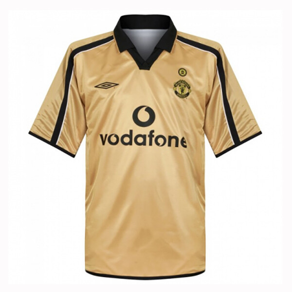 Manchester United Away Centenary Gold Retro Jersey 2001-02 (Replica)