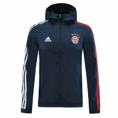 Bayern Munich Navy Windrunner Hoodie Jacket 20-21