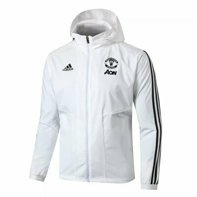 Manchester United White Windrunner Hoodie Jacket 20-21
