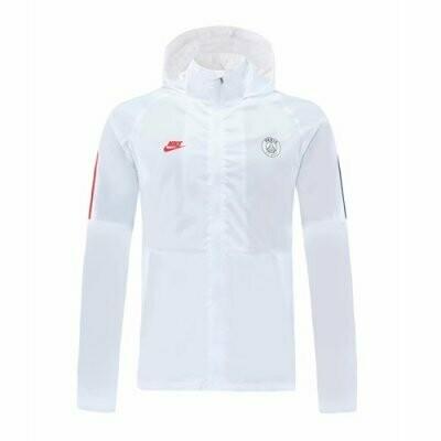 PSG White Windrunner Hooide Jacket 20-21