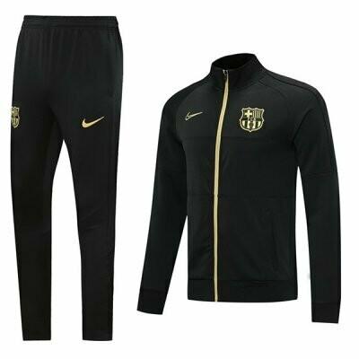 Barcelona Black Gold Logo Training Jacket Kit 20-21
