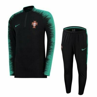 2018 Portugal Black Sleeve Green Zebre Training Suit