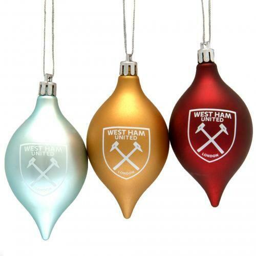 West Ham United FC 3pk Vintage Baubles