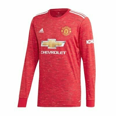 Manchester United Home Long Sleeve Soccer Jersey 20-21