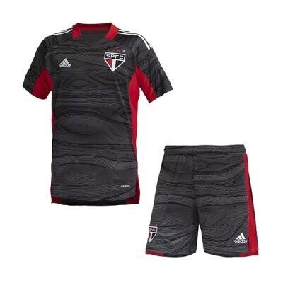 21-22 Sao Paulo FC Goalkeeper Black Jersey Kids Kit