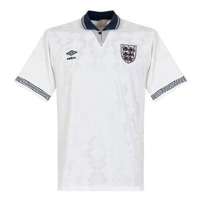 1990 England Home Retro Football Jersey Shirt