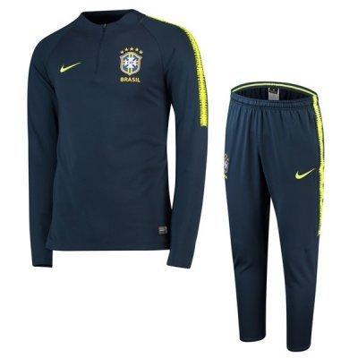 Nike Brazil Navy Sleeve Yellow Training Suit 2018