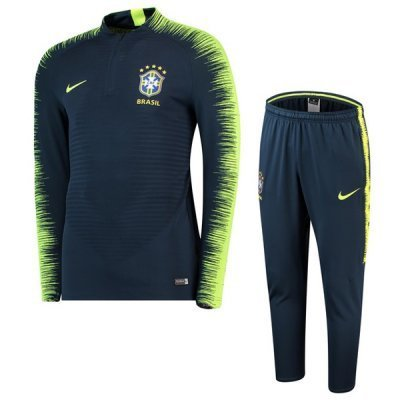 Nike Brazil Navy Sleeve Yellow Zebra Training Suit 2018